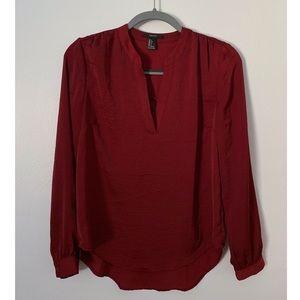 Red Silk Blouse / Dress Shirt